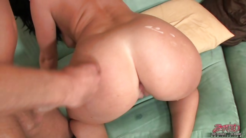 Sophie Dee gets fresh, hot cum on splashed on her big sexy ass