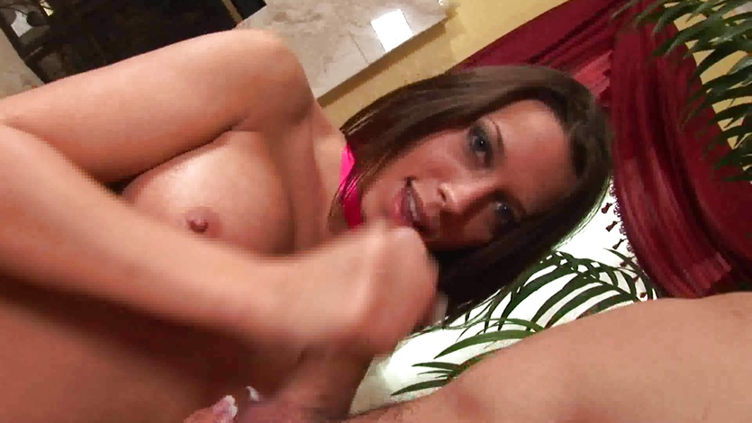 Sexy Rachel Starr tosses off this hard trouser snake