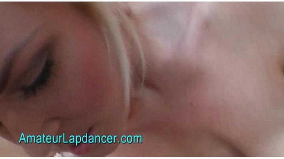 Platinum blonde chick lapdances on huge dick 8
