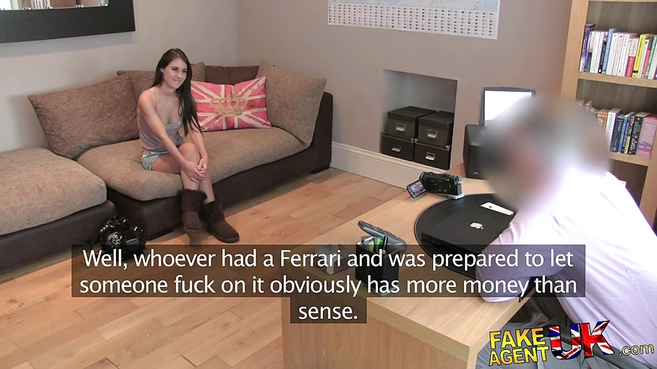Fakeagentuk tight shaven pussy fucked over desk 2