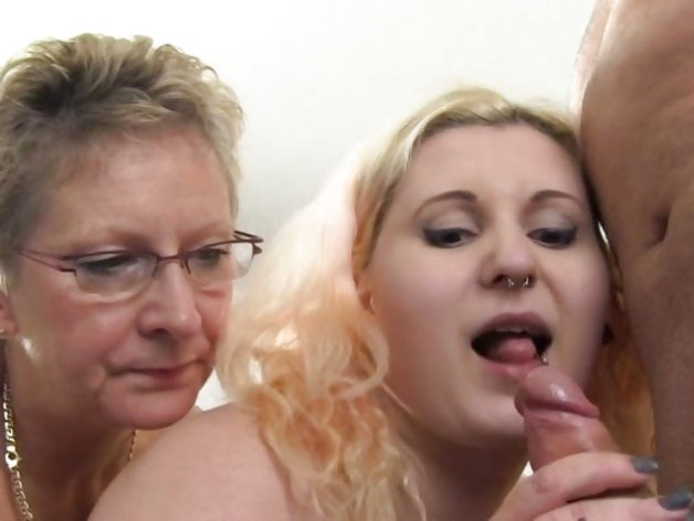 BBW and granny sharing a cock