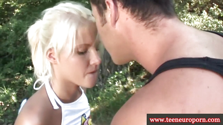Blonde euro teen buffing the knob 9