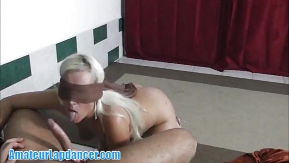 Platinum blonde chick lapdances on huge dick 3