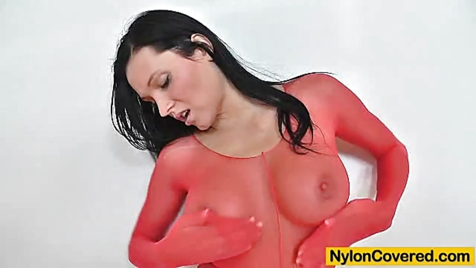 Busty model ema black face deformed by a nylon mask 6