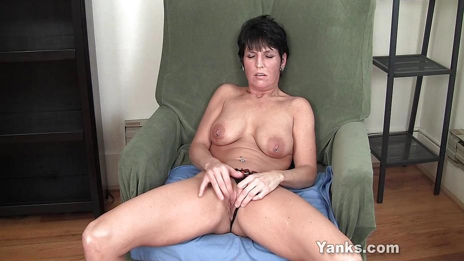 Short haired bobbie fingering her hairy cunt 3
