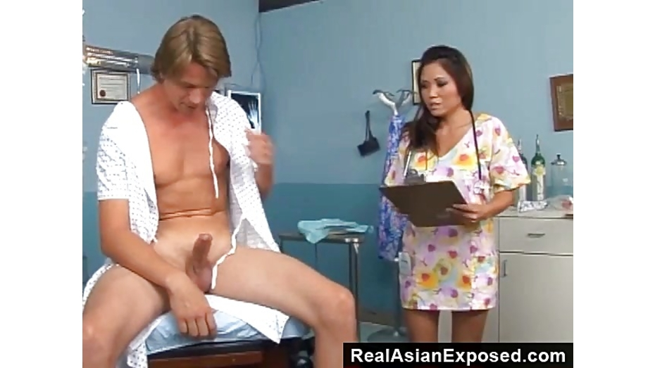 Cute nurse relieving the pressure off his cock 2