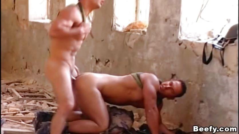 """Please me more"" Two military hunks anal fucking"