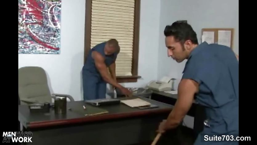 Gay cleaning guys fucking in the office