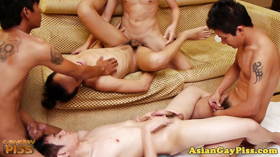 Bareback Twink Group With Asians Tugging