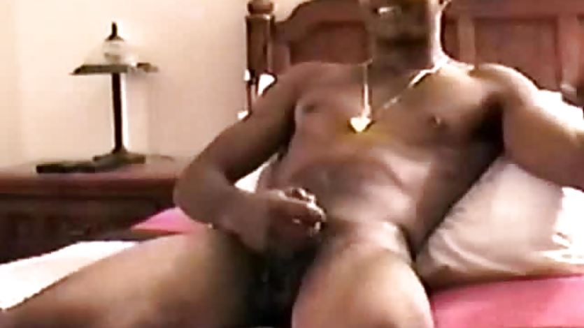 Black straight amateur tugging his soft cock