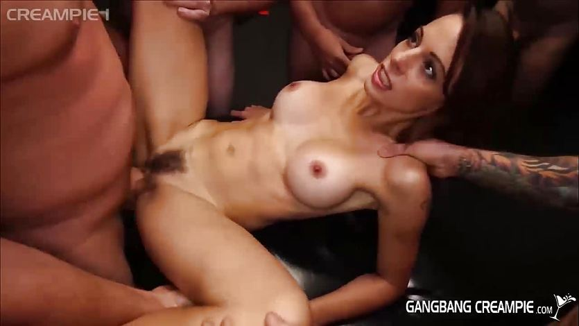 Teen gang bang cream pie