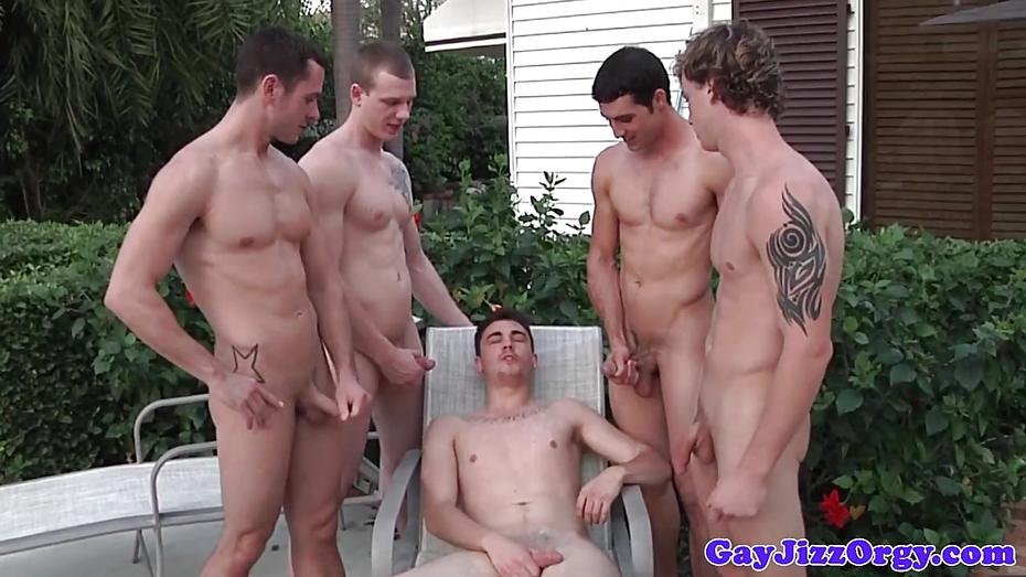 Muscle jock assfucked in group before cumshot