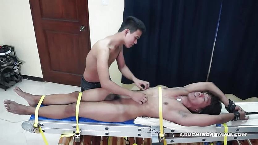 Asian Boy Hermis Bound and Tickle Handjob