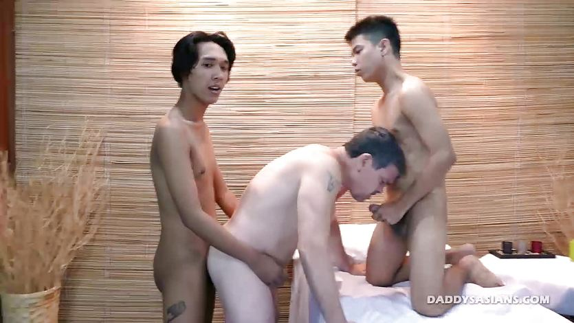 Asian Boys Spit Roast Daddy Mike