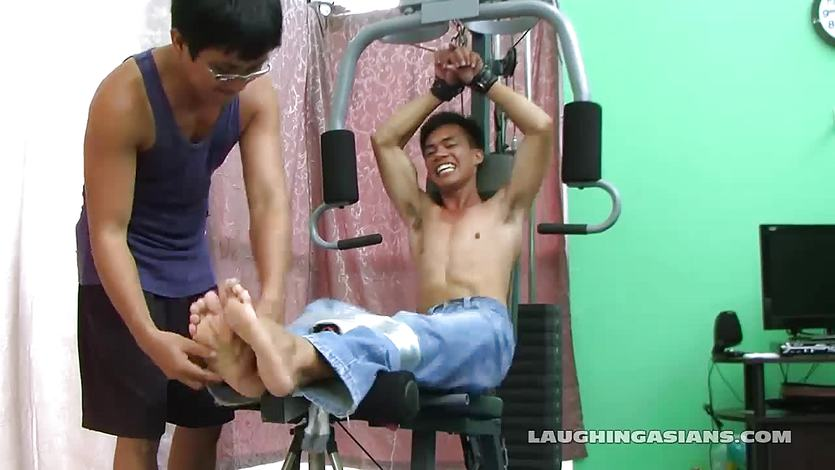 Asian Boy Argie Tickled On The Gym