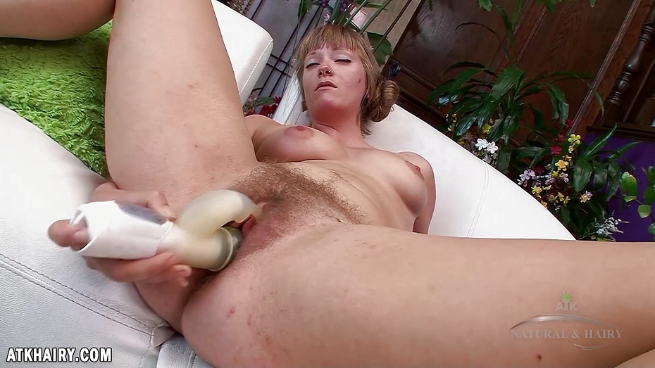 Sausha packer uses a vibrator on her hairy pussy - 3 part 2