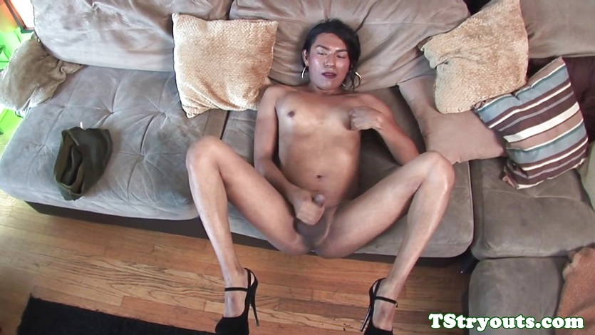 Mexican Tgirl Blows Cock During Porn Audition