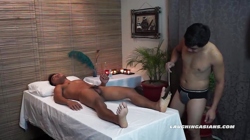 Twink Asian Boy Jacob Massage and Tickled