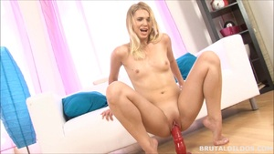 A Charming Blonde That Was Almost Copied By A Cruel Dildo