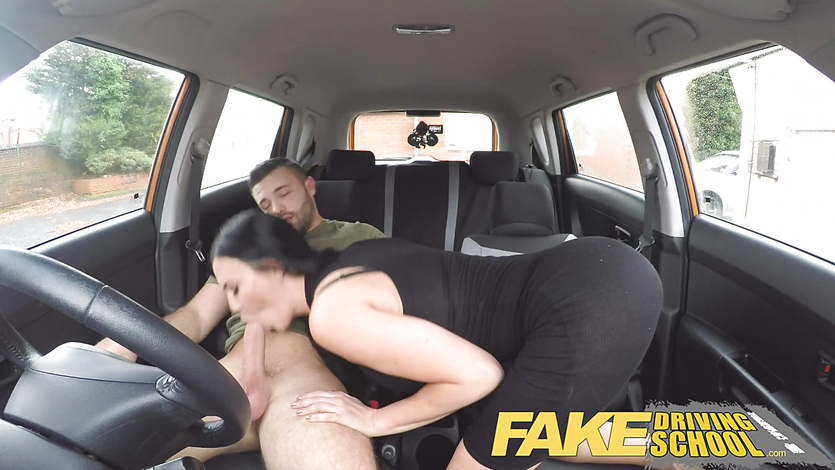 image Fake driving school back seat pussy squirting and creampie