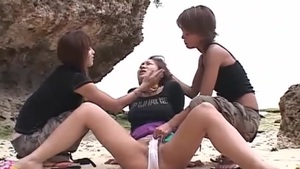 Lesbian Oriental Girls With Sexy Beach Toys