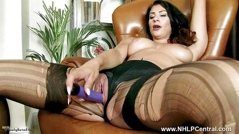 Brunette rips nylon pantyhose satin panties toys pussy