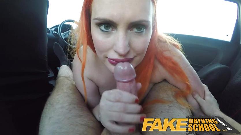 image Fake driving school tattooed redhead craves instructors big cock and cum