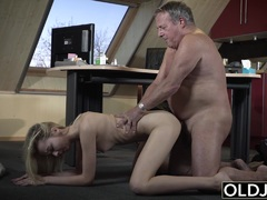 19 yo helps grandpa gave orgasm by fucking him cum swallow 8