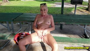 Stripping Full Nude In Public Gets Her a Creampie