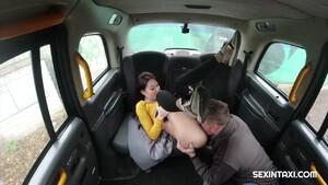 Hot brunette licked in back of cab