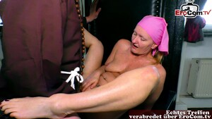 German mature clean up blonde with saggy tits seduced